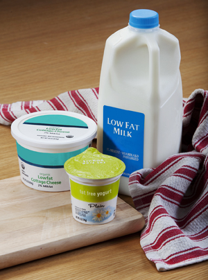 Calcium-rich low fat foods: fat free yogurt, lowfat cottage cheese, low-fat milk.