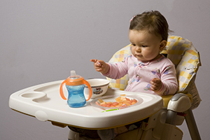 "By 9 months of age, most of your baby's meals will be made up of ""finger foods."""